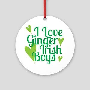 Ginger Irish Boys Round Ornament