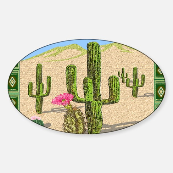 desert cactus area rug Sticker (Oval)