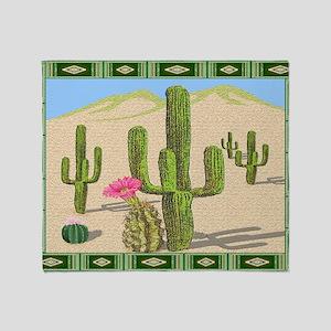 desert cactus area rug Throw Blanket