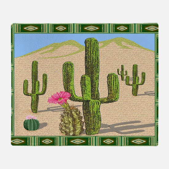 desert cactus area rug Throw Blanket
