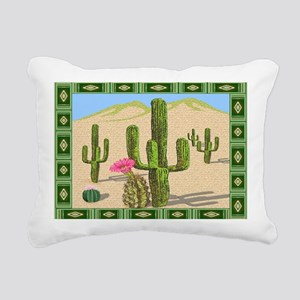 desert cactus area rug Rectangular Canvas Pillow