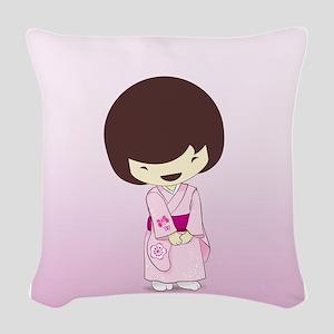 Sakuras Pink Girls Day Kimono  Woven Throw Pillow