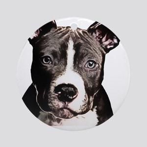 Cartoon Pit Pup Round Ornament