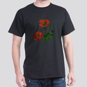 Poppies French  Vintage Art Dark T-Shirt