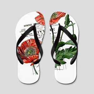 Poppies French  Vintage Art Flip Flops