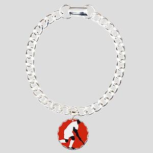 field hockey player Charm Bracelet, One Charm