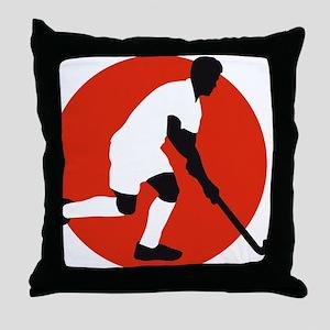 field hockey player Throw Pillow