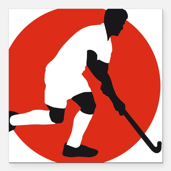 """field hockey player Square Car Magnet 3"""" x 3"""""""