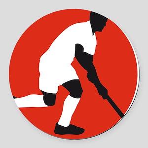 field hockey player Round Car Magnet