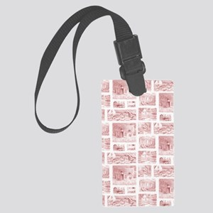 English Cottages curtain Large Luggage Tag