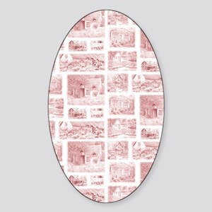 English Cottages curtain Sticker (Oval)