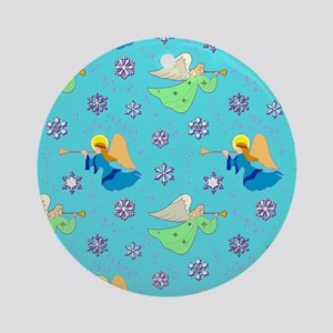 Angels in Blue – Sn... Round Ornament