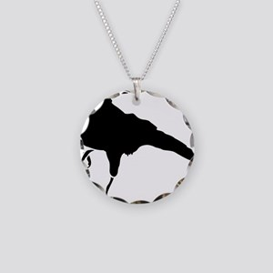 Crow Necklace Circle Charm