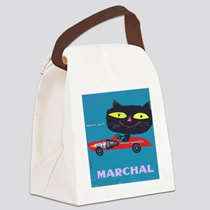 Vintage French Cat Red Car Canvas Lunch Bag