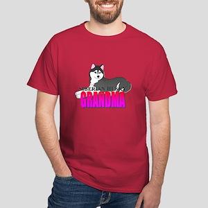 Black Siberian Husky Grandma Dark T-Shirt