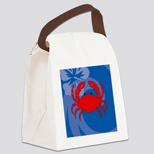 Crab Round Compact Mirror Canvas Lunch Bag