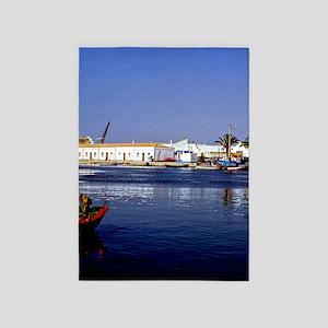 Portugal Seaside Sapphire  Crimson  5'x7'Area Rug