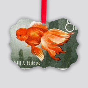 1960 China Oranda Goldfish Postag Picture Ornament