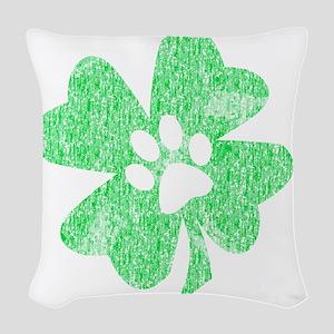 Paw Shamrock Woven Throw Pillow
