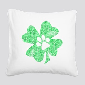 Paw Shamrock Square Canvas Pillow