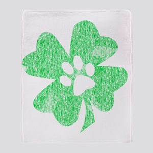 Paw Shamrock Throw Blanket