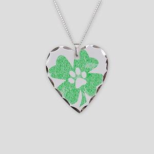 Paw Shamrock Necklace Heart Charm