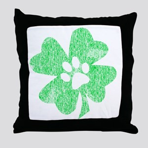 Paw Shamrock Throw Pillow