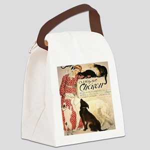 Vintage French Woman Dogs Cats Canvas Lunch Bag