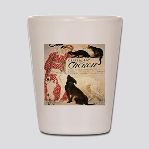 Vintage French Woman Dogs Cats Shot Glass