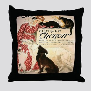 Vintage French Woman Dogs Cats Throw Pillow