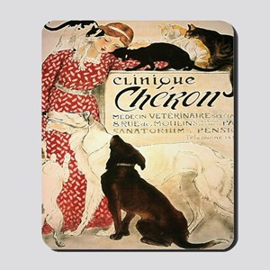 Vintage French Woman Dogs Cats Mousepad