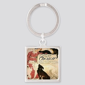 Vintage French Woman Dogs Cats Square Keychain