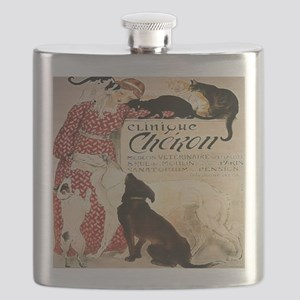 Vintage French Woman Dogs Cats Flask
