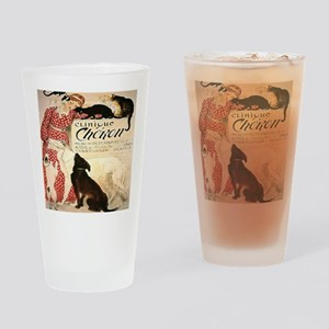 Vintage French Woman Dogs Cats Drinking Glass