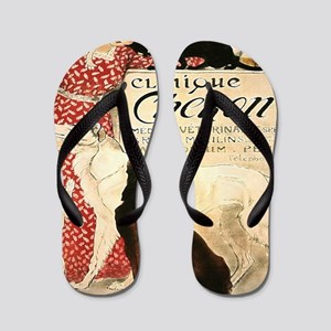 Vintage French Woman Dogs Cats Flip Flops