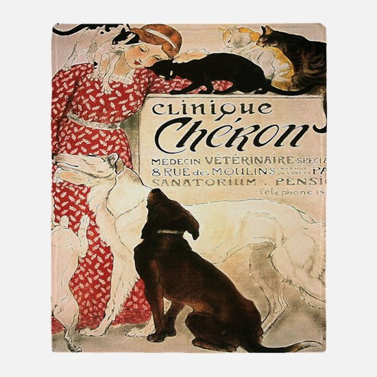 Vintage French Woman Dogs Cats Throw Blanket