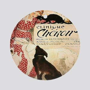 Vintage French Woman Dogs Cats Round Ornament