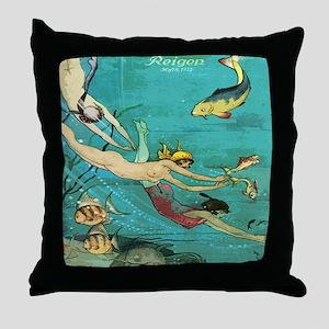 Vintage French Women Fish Sea Throw Pillow