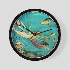 Vintage French Women Fish Sea Wall Clock