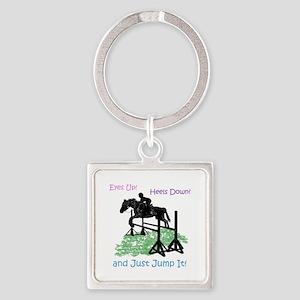 Fun Hunter/Jumper Equestrian Horse Square Keychain