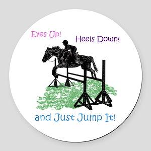 Fun Hunter/Jumper Equestrian Hors Round Car Magnet