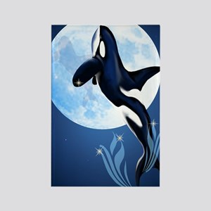 Leaping Orca and Moon Rectangle Magnet