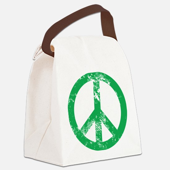 Green Distressed Peace Canvas Lunch Bag