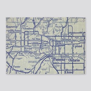 Map of Pomona and San Gabriel Valle 5'x7'Area Rug