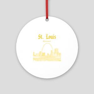 StLouis_12x12_Downtown_Yellow Round Ornament