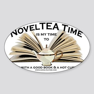 NovelTea Time Classic Curl up with  Sticker (Oval)