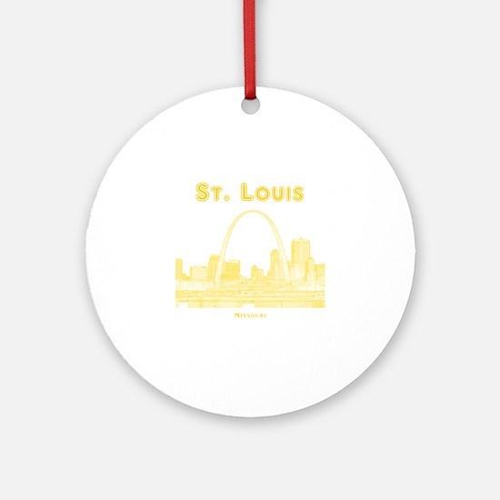 StLouis_10x10_Downtown_Yellow Round Ornament