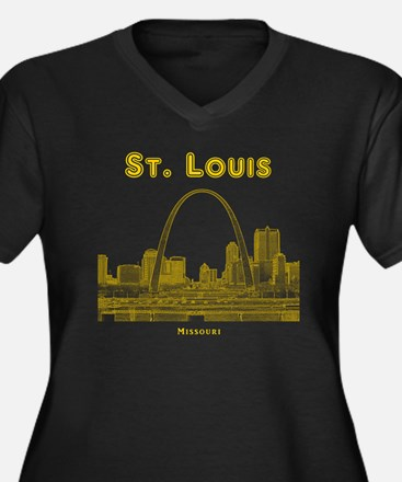 StLouis_10x1 Women's Plus Size Dark V-Neck T-Shirt