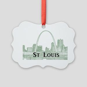 StLouis_Downtown_Rect_BlackGreen Picture Ornament