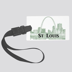StLouis_Downtown_Rect_BlackGreen Large Luggage Tag